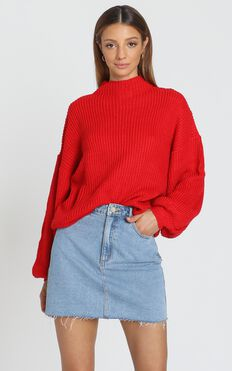 I Feel Love Oversized Knit Jumper in Red