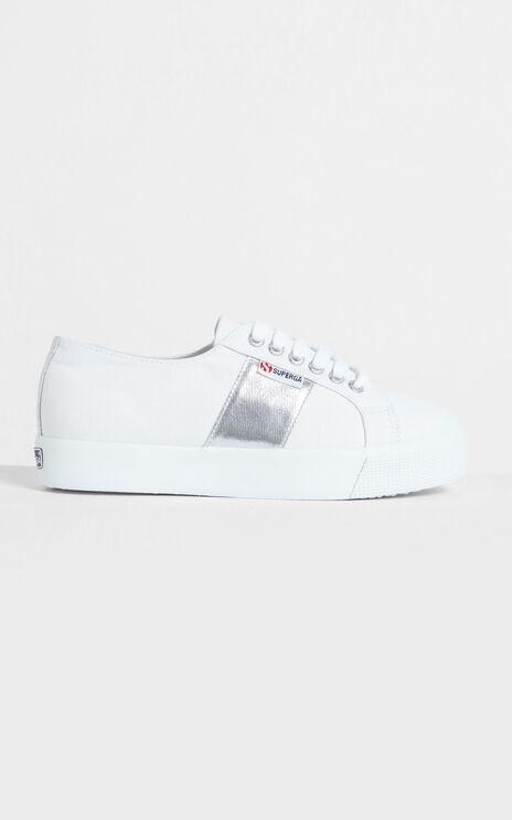 Superga - 2730 COTCOTMETW Platform Sneaker in White-Silver