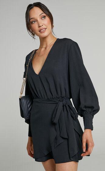 Luna Mini Length Dress with Self Tie Overlay Skirt in Black