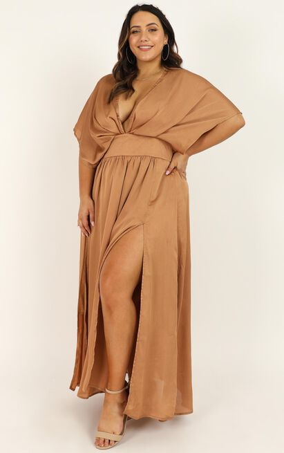 Save It For Later Dress In camel satin - 20 (XXXXL), Camel, hi-res image number null