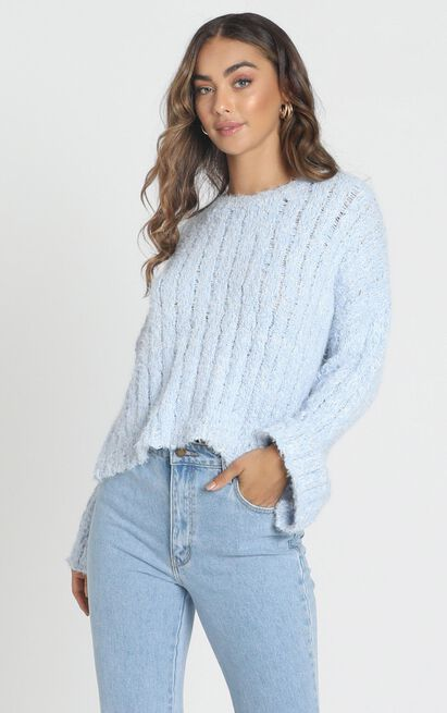 Bethen Fluffy Knit in blue - M/L, Blue, hi-res image number null