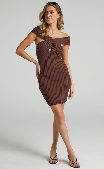 Georgia High Neck Knit Dress in Chocolate