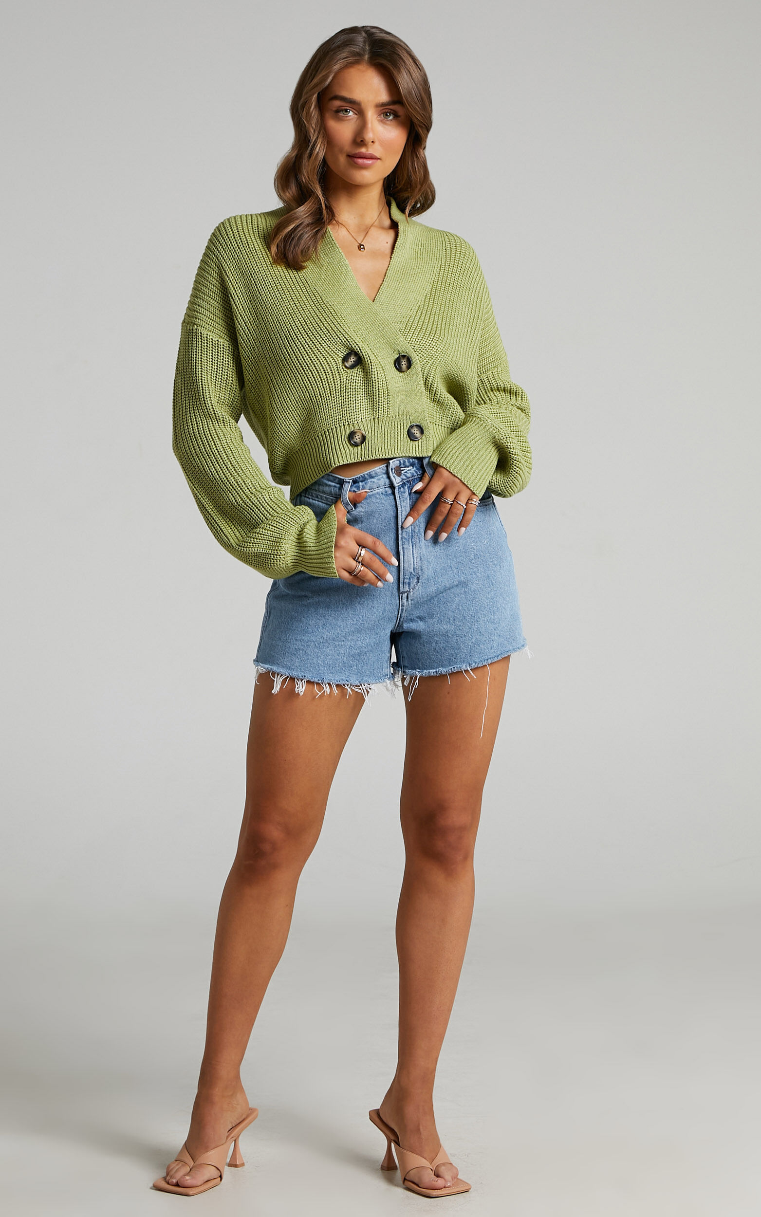 Catriona Front Button Sweater in Pistachio - 06, GRN1, super-hi-res image number null