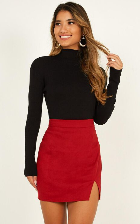 International Babe Skirt In Chilli Linen Look