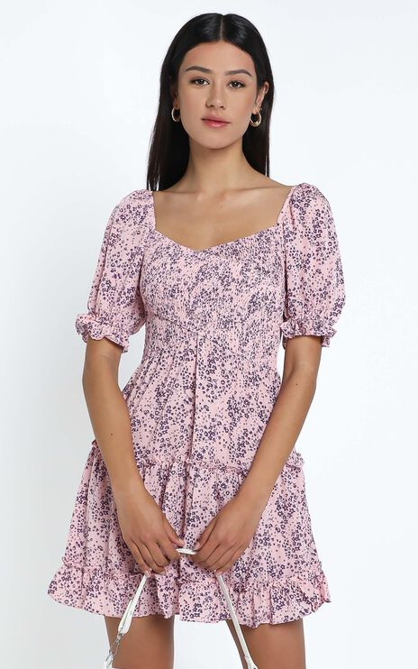 Drew Dress in Pink Floral
