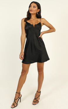 Pretty Persuasive Dress in Black Satin