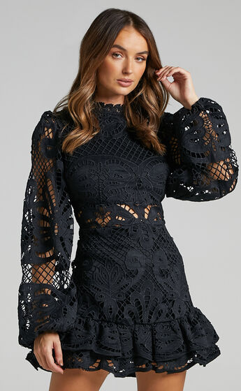 Kiss Me Now Dress in Black Lace