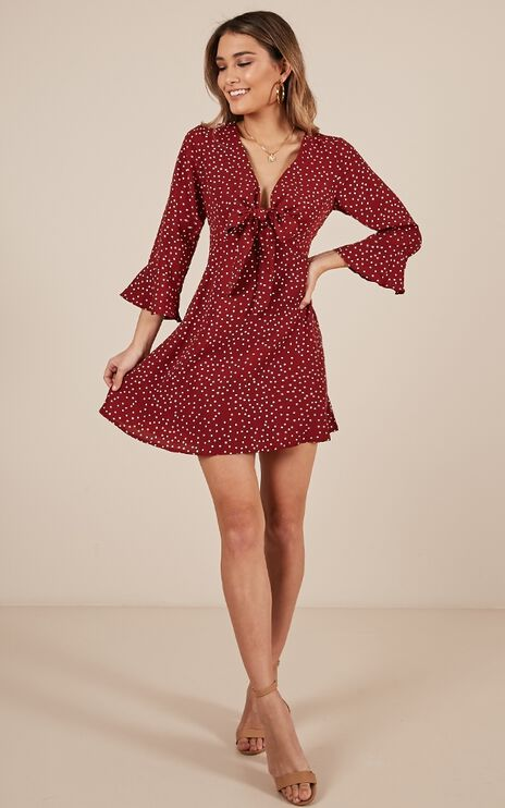The Big Picture Dress In Wine Print
