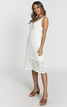 Feel The Waves Dress In Cream Crochet