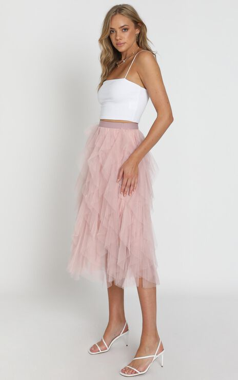 Out Of The Conversation Skirt In Blush