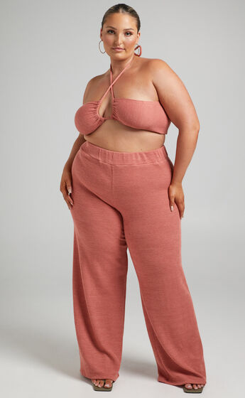Juliann Knit Two Piece Pant Set with Crop Top in Terracotta