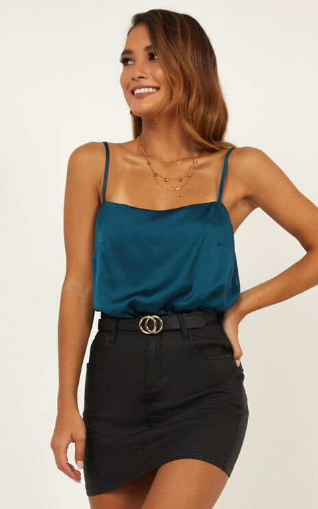 Sooner Or Later Top In Teal Satin