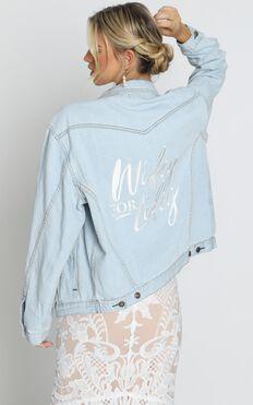 Wifey Denim Jacket In Light Wash