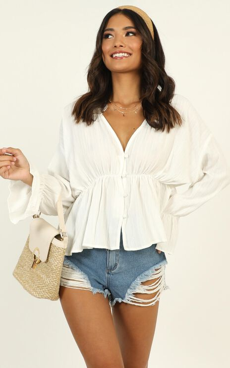 Set Free Button Up Shirt In White
