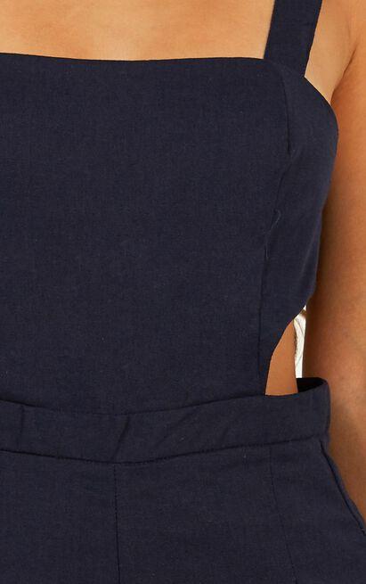 Street Smart Jumpsuit in navy linen look - 20 (XXXXL), Navy, hi-res image number null