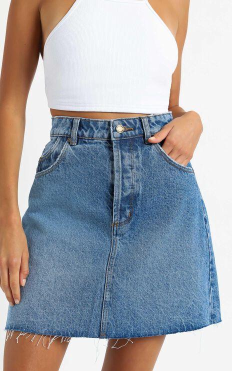 Rollas - Classic Mini Denim Skirt in Paris Blue
