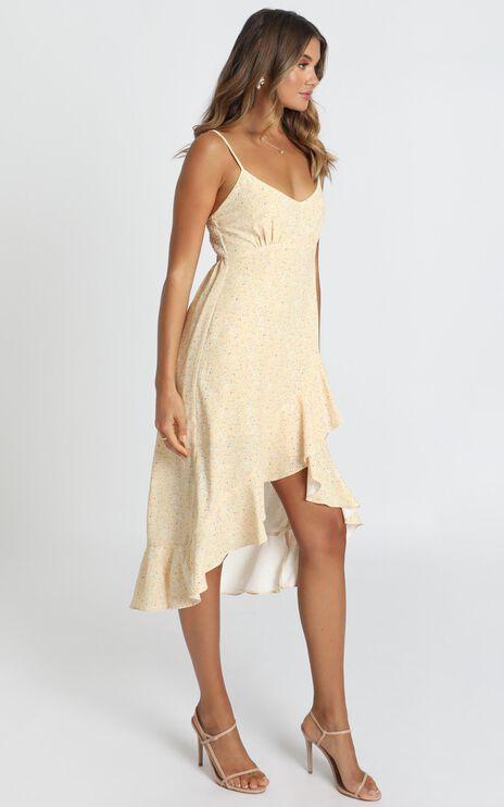 Dominika Midi Dress With Frill Hem In Apricot