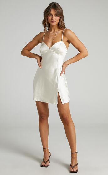 Ollea Mini Satin Slip Dress in Cream