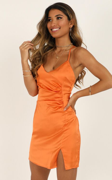Saw The Light Dress In Tangerine Satin