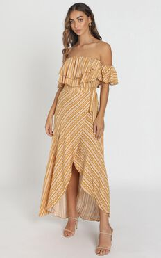 Aysha Bardot Dress in Mustard Stripe