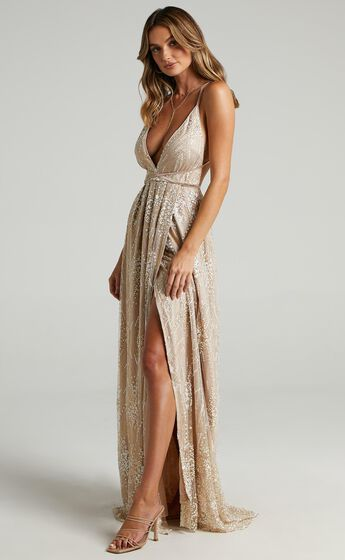 New York Nights Plunge Cross Back Maxi Dress in Gold