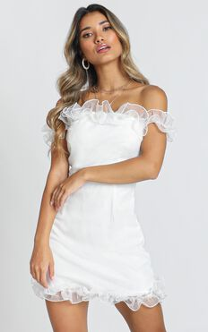 Malia Frill Mini Dress In White