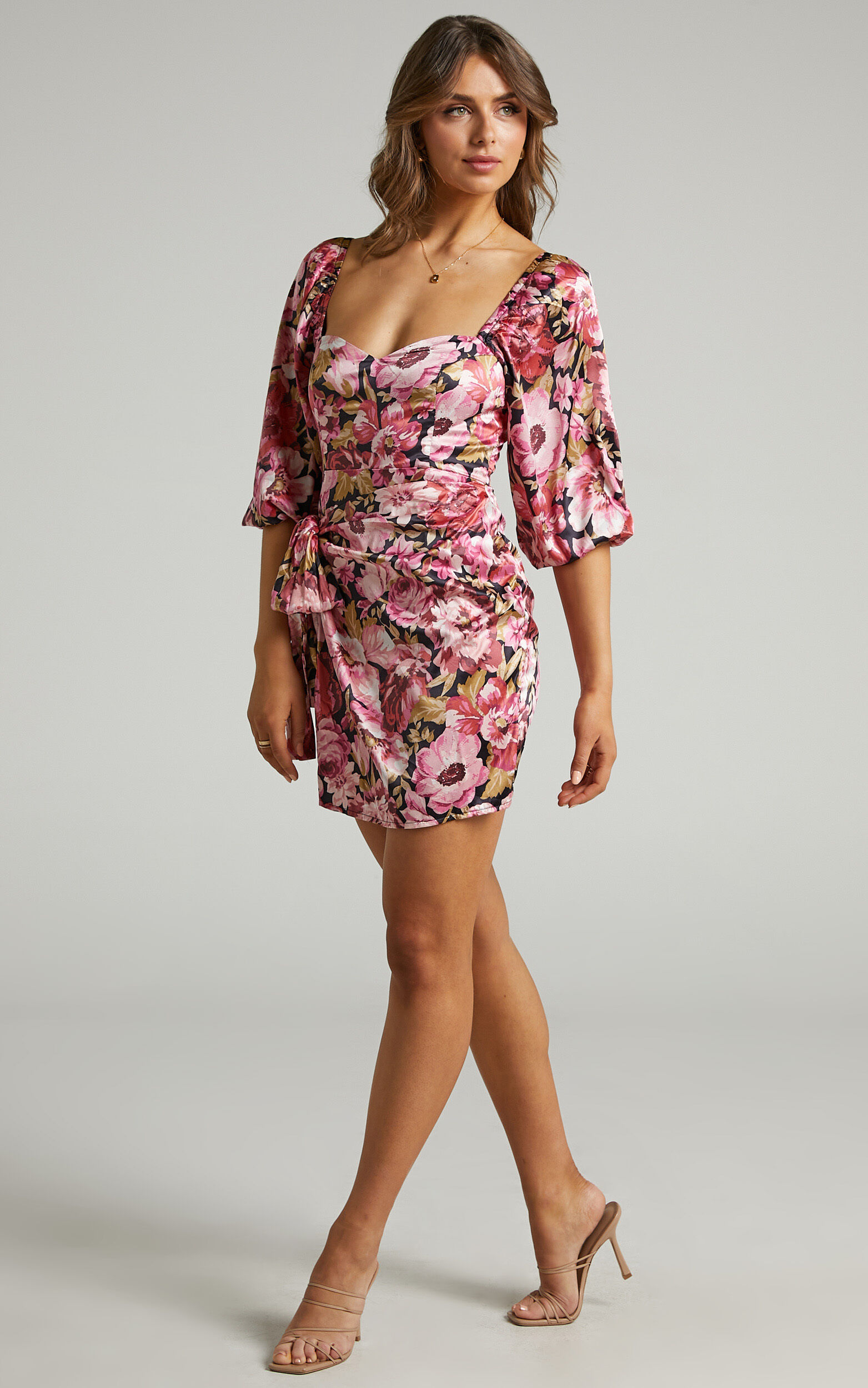 Chloie Puff Sleeve Drape Mini Dress in Boudoir Blooms - 06, ORG1, super-hi-res image number null