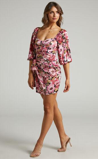 Chloie Puff Sleeve Drape Mini Dress in Boudoir Blooms