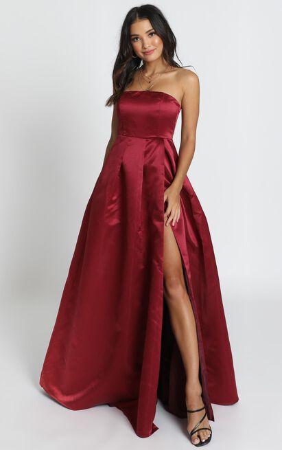 Queen Of The Show Dress In wine satin - 18 (XXXL), Wine, hi-res image number null