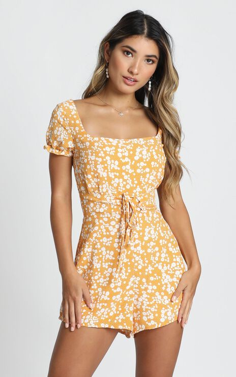 Eye Candy Playsuit In Mustard