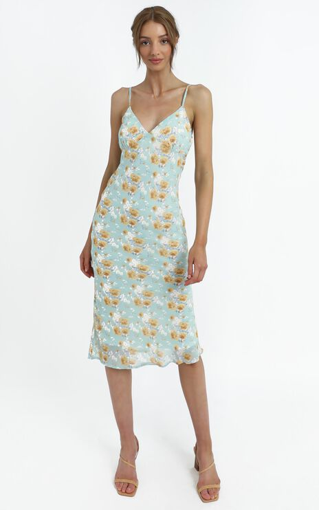 Mariella Dress in Teal Floral