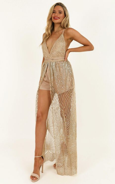 Love When You Can Playsuit In Gold Glitter