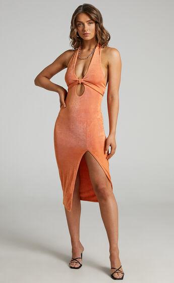 Bethany Halter Dress in Orange