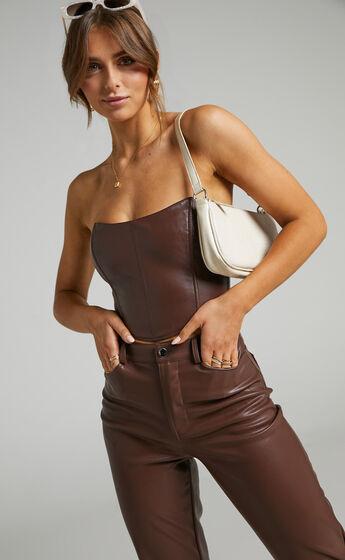 Lorrin Corset in Chocolate Leatherette