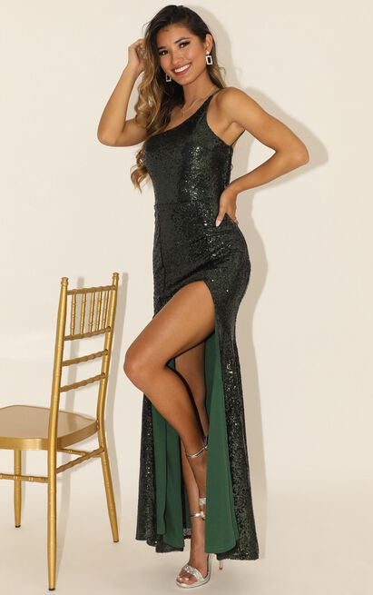 Started Singing dress in emerald sequin - 20 (XXXXL), Green, hi-res image number null