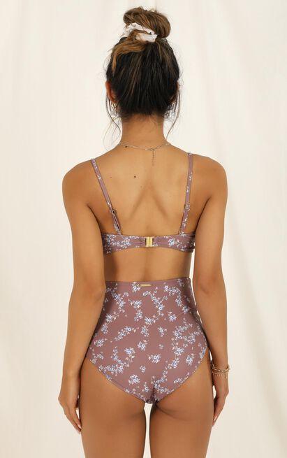 Brenda Bikini Top in mocha floral - 20 (XXXXL), Brown, hi-res image number null