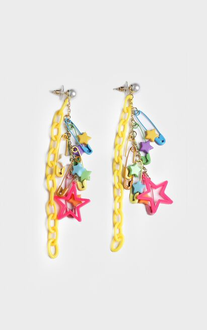 Fun Times Star Clip Drop Earrings In Pink, , hi-res image number null