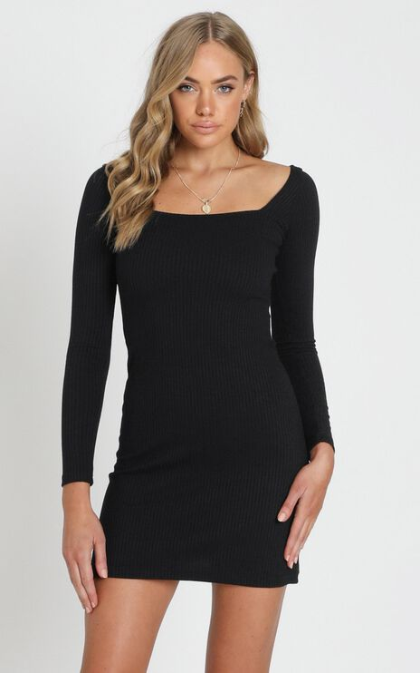 Ticking By Dress in Black