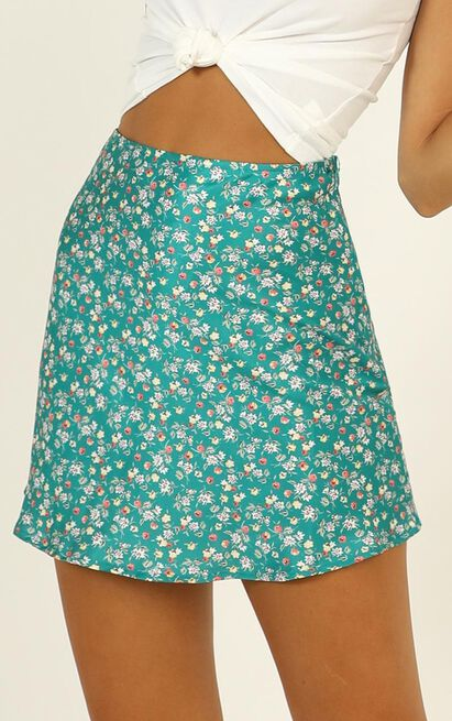 Puzzle Pieces skirt in green floral - 12 (L), Green, hi-res image number null