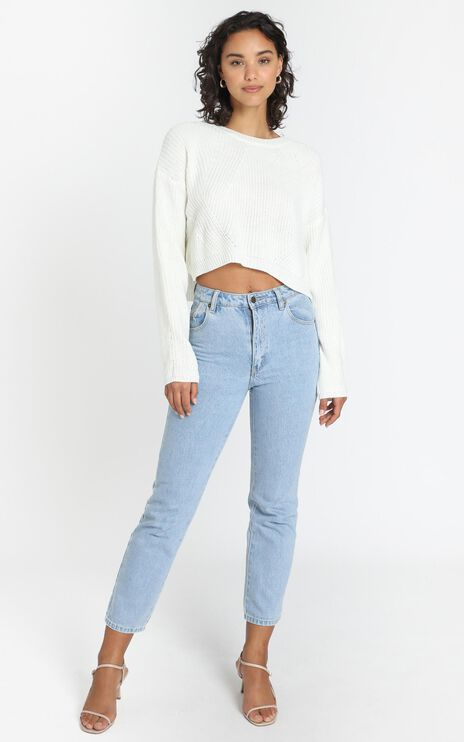 Frankie Cropped Boxy Knit in Ivory