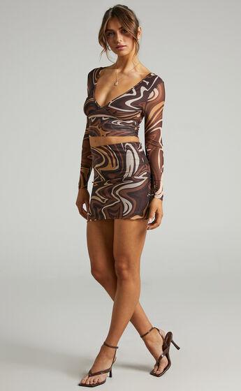 Ababa Retro Swirl Long Sleeve Top in Chocolate