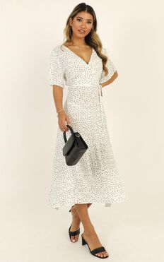 Go The Extra Mile Dress In White Spot