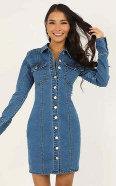 Somebody New Dress In Mid Blue Denim