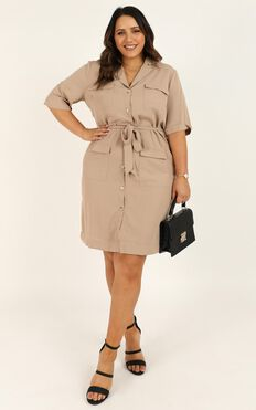 Business As Usual Dress In Camel
