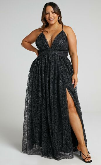 Lady Godiva Dress in Black Glitter Tulle
