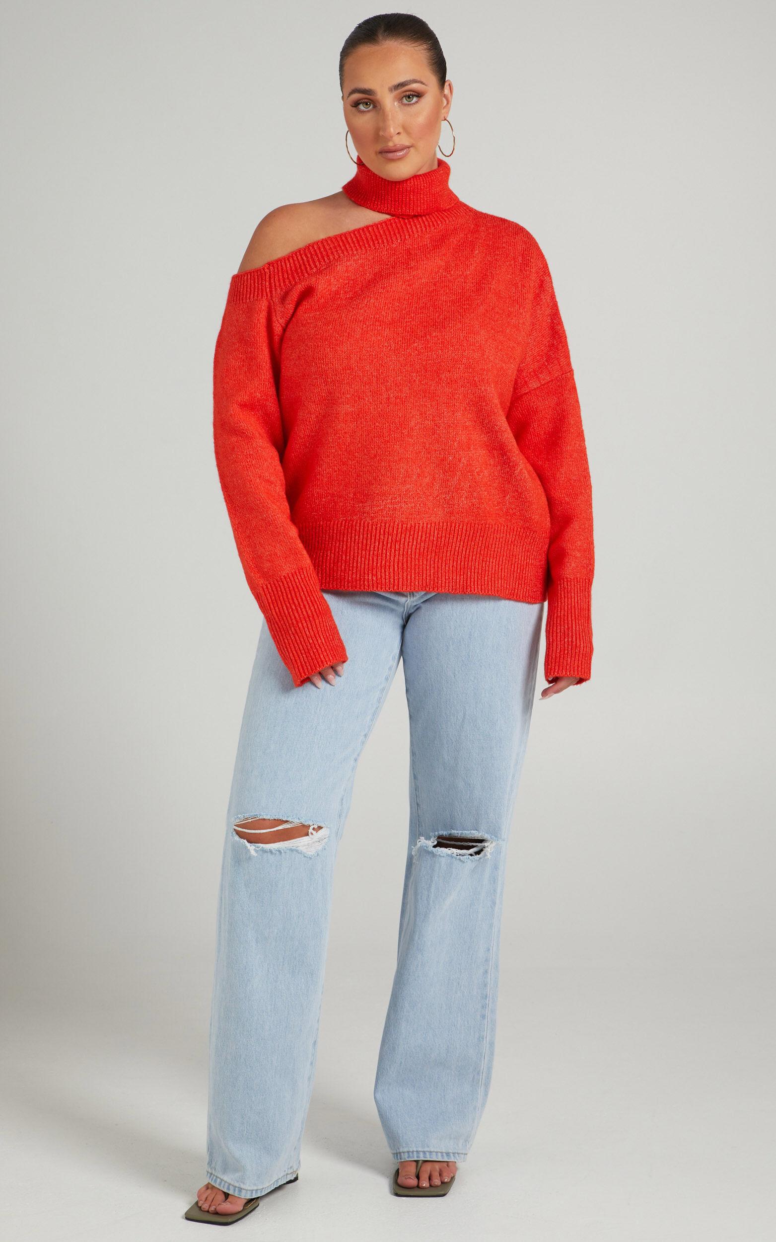 Ceila Knit Top with Shoulder Cut Out in Orange - 06, ORG2, super-hi-res image number null