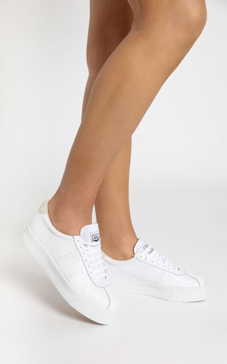 Superga - 2854 Club3 Leasuew Sneakers in White Beige Lt Sand