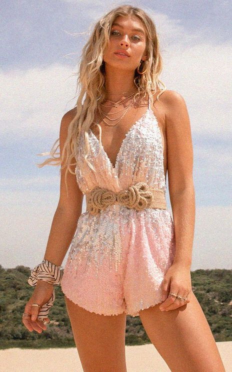 Standing By Your Side Playsuit in Multi Sequin