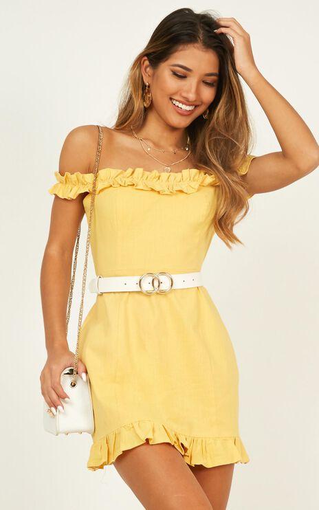 Days Of Summer Dress In Mustard Linen Look