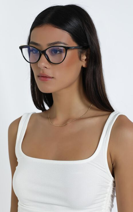 Quay - Please Advise Blue Light Glasses in Black / Clear Blue
